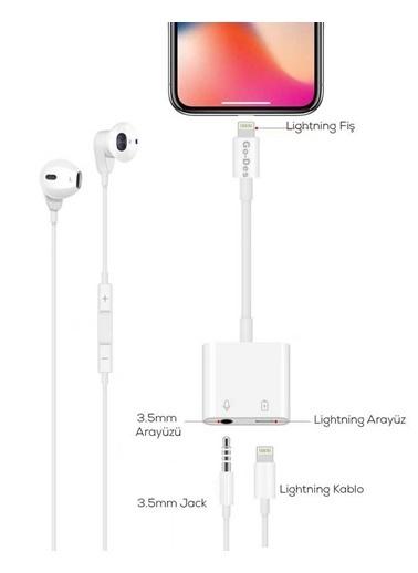 MobilCadde Go Des GD-OR881 Lightning Şarj ve Jack Kulaklık Çoğaltıcı Adaptör Renkli